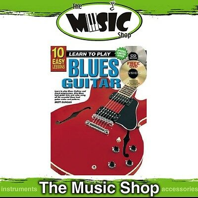 New 10 Easy Lessons Learn to Play Blues Guitar Music Tuition Book with CD & DVD