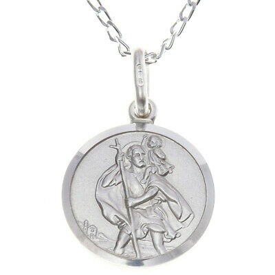 "Solid Sterling Silver St Saint Christopher Pendant Chain 18"" Necklace & Gift Box"