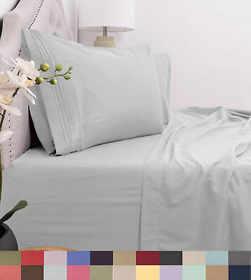 Egyptian Comfort 1800 Thread Count 4 Piece Bed Sheet Set Deep Pocket