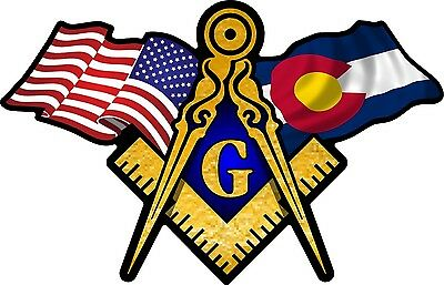 "1 - 3"" x 5"" American & Colorado Flags Masonic Compass Square Decal Sticker 041"