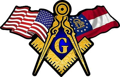 "1 - 3"" x 5"" American & Georgia Flags Masonic Compass Square Decal Sticker 045"