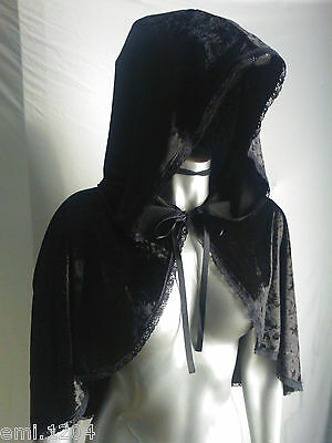Mini Velvet Hooded Cape. Black. Halloween. Black Widow. Witch.