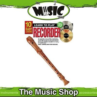 New 10 Easy Lessons Learn to Play Recorder Tuition Book with CD & DVD