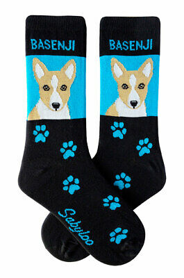 Basenji Socks Lightweight Cotton Crew Stretch Egyptian Made