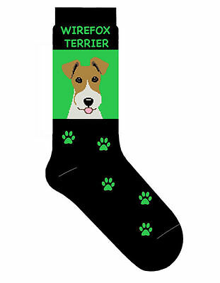 Wire Fox Terrier Socks Lightweight Cotton Crew Stretch Egyptian Made
