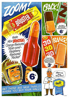 VINTAGE 1960's WALLS ICE LOLLY ADVERTISING A4 POSTER PRINT