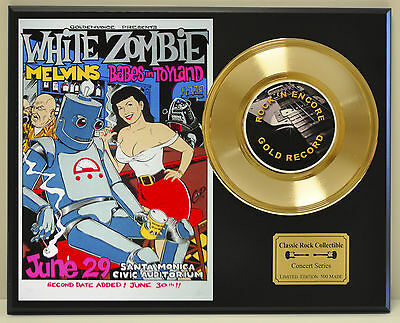 White Zombie Ltd Edition Concert Poster Series Gold 45 Display Ships Free