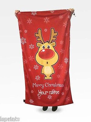 Personalised Giant Deluxe Red Christmas Rudolph Santa Sack Stocking Super Size