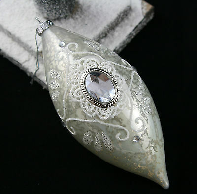 Silver White Lace Glass Jewel Baubal Victorian Vintage ChristmasTree Decoration