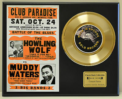 Howling Wolf Muddy Waters 24k Gold Record & Club Paradise Poster USA Ships Free