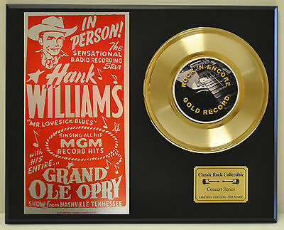 Hank Williams - 24k Gold Record & Grand Ole Opry Concert Poster - USA Ships Free