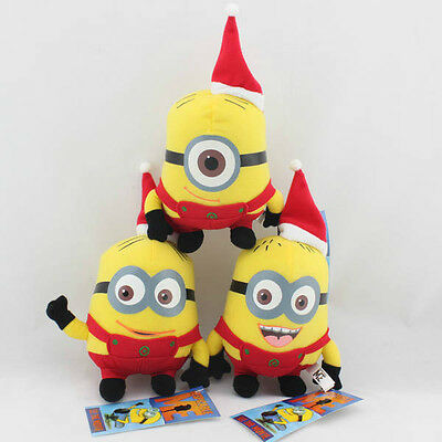 Despicable Me Christmas Minion Plush Toy Red Hat Stuffed Animal Set of 3 Teddy