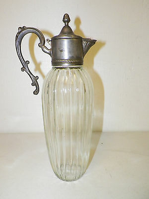 "VINTAGE SILVERPLATE LID &  GLASS PITCHER ORNATE HANDLE 13"" TALL MADE IN ITALY"