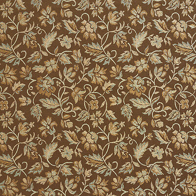E622 Floral Brown Green And Gold Damask Upholstery And Drapery By The Yard