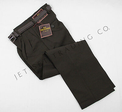 Boys Dark Brown Dress Pant Slacks Pleated with Brown Belt Sizes 4 to 18