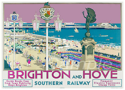 Bh02 Vintage Brighton And Hove Southern Railway A4 Poster Print