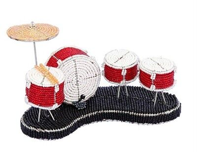 Red Drum Set Sculpture Beaded Wire Hand Crafted Beadworx Musician Gift Music NWT