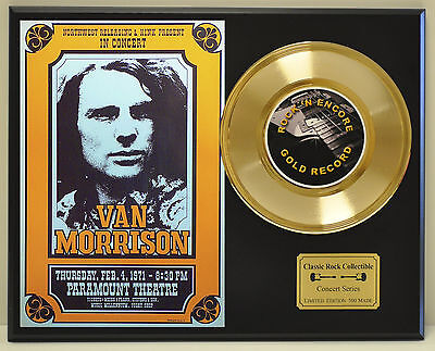 Van Morrison 24k Gold Record & Paramount Theatre Concert Poster - USA Ships Free