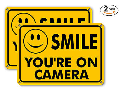 2 SMILE YOU'RE ON CAMERA Yellow Business Security Sign CCTV Video Surveillance