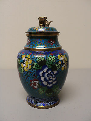 Antique Chinese Cloisonne Enamel On Bronze Lidded Jar, Miniature Foo Dog Finial