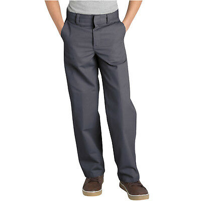 Dickies Boys Charcoal Pants Flat Front Classic Fit School Uniform Sizes 4 to 20