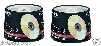 100 CD -R TDK VERGINI 52X 700MB CDR STOCK ORIGINALI + 1 cd verbatim omaggio