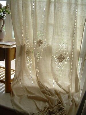 NEW Tab Top Hand Embroidered Hollow Out Cotton Linen Crochet Lace Curtain F01