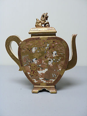 "BEAUTIFUL 19th C. HAND PAINTED & GILDED JAPANESE 9"" SATSUMA TEAPOT, FOO DOG TOP"