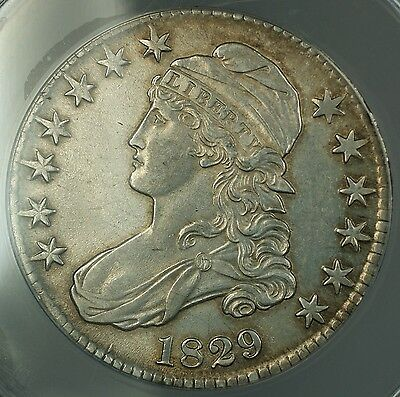 1829 Capped Bust Half Dollar 50c Coin ANACS AU-58 Details Cleaned