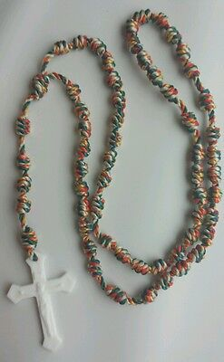 Handmade Knotted Cord Rosary Twine & Plastic Crucifix - Our Lady of Guadalupe