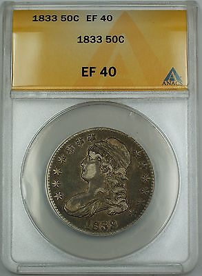 1833 Capped Bust Silver Half Dollar 50c Coin ANACS EF-40