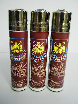 3 Official Genuine West Ham United FC Football Clipper Lighters Ideal Gift