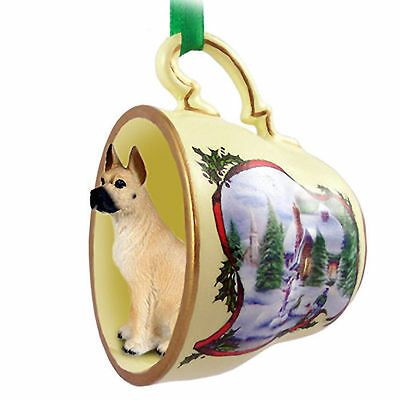 Great Dane Dog Christmas Holiday Teacup Ornament Figurine Fawn