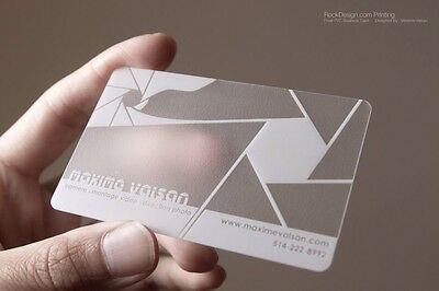 1000 Full Color / Frosted PVC Business Cards,  (Plastic) Semi Transparentes