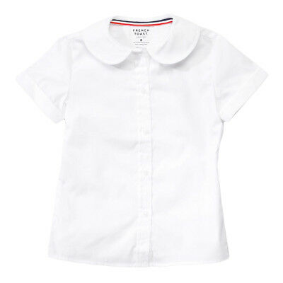Girls White Blouse Peter Pan Collar Short Sleeve French Toast Sizes 4 to 20