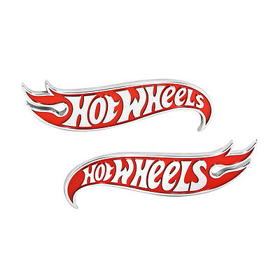 GM OEM Hot Rod Dub Edition Hot Wheels Flames Red & Chrome Fender Emblems - Pair