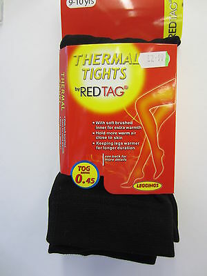 Girls Black Red Tag Thermal Footless Tights    46B190