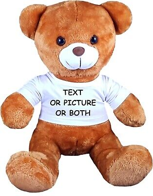 Personalised Teddy Bear 30cm Lovely Birthday Gift Photo/Text Print Soft