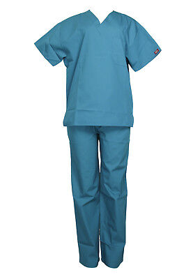 Dickies Unisex Teal Set Medical Everyday Scrubs Top / Bottom Sizes Xs - Xl