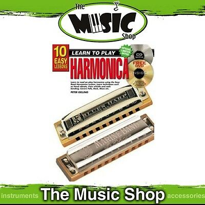 New 10 Easy Lessons Learn to Play Harmonica Music Tuition Book with CD & DVD