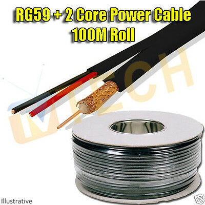 RG59 + 2 Core Power CCTV Cable 100M Roll Free Irish Delivery