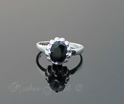 Black Royal Cz Womens Girls Ladies Dress Sterling Silver Sp Ring Tiny Size 4.5