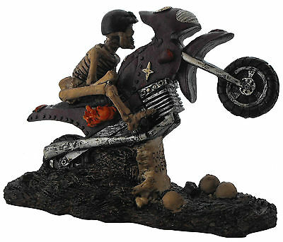 Skeleton Riding A Bike Statute Figurine The Race Is Over Scary Ugly Spooky Bones