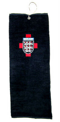 "ENGLAND 3 LIONS Golf Towel in Navy ""NEW"" TRIFOLD &  EMBROIDERED"