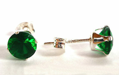 EMERALD GREEN STERLING SILVER STUD EARRINGS - ROUND 5MM  CREATED STONE sk766