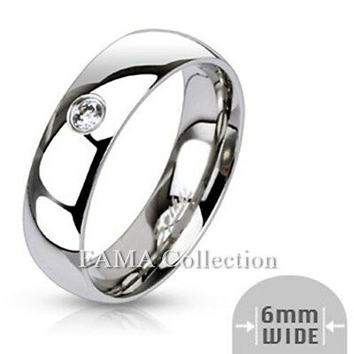 Top Quality FAMA Stainless Steel Single CZ 6mm Wide Classic Band Ring Size 5-13