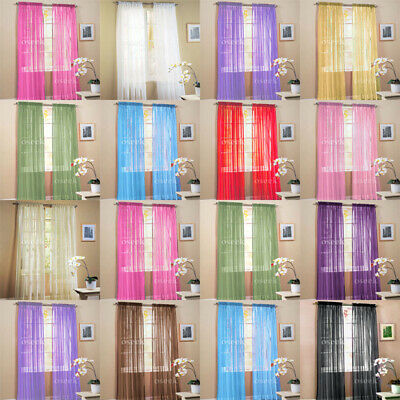 """2 Solid Sheer Voile Window Panel Curtains Drape Treatment Scarf Decor 60"""" X 84"""""""