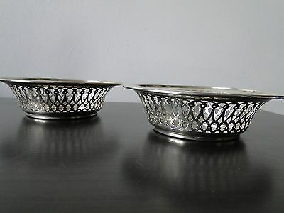 Pair Sweet Dishes English Sterling Silver Made In Birmingham 1927 Maker Bb+Co
