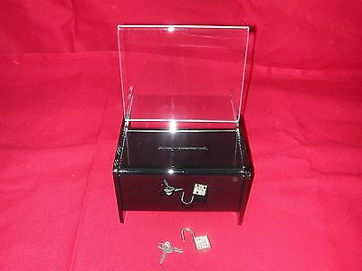 One (1) Black Acrylic Donation/ Fundraising Box With Padlock & 2 Keys
