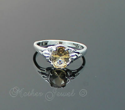 Amber Yellow Cz Womens Girls Ladies Sterling Silver Sp Dress Ring Size 5 J